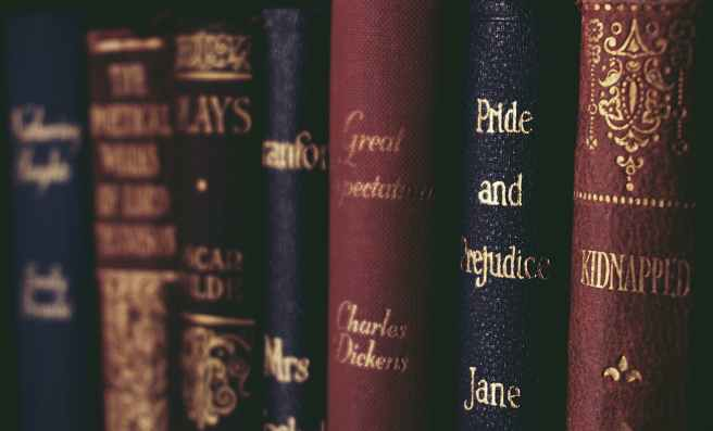 close up of books on shelf